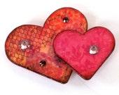 Valentine Magnet Twin Heart Fridge Magnet Peach Pink Crystal Refrigerator Magnet
