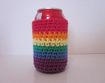 Beer Cozy, Can Cozy, Rainbow Cozy