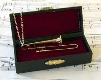 Trombone Necklace in Case - Music Gift - Trombone Jewellery - Trombone Gift