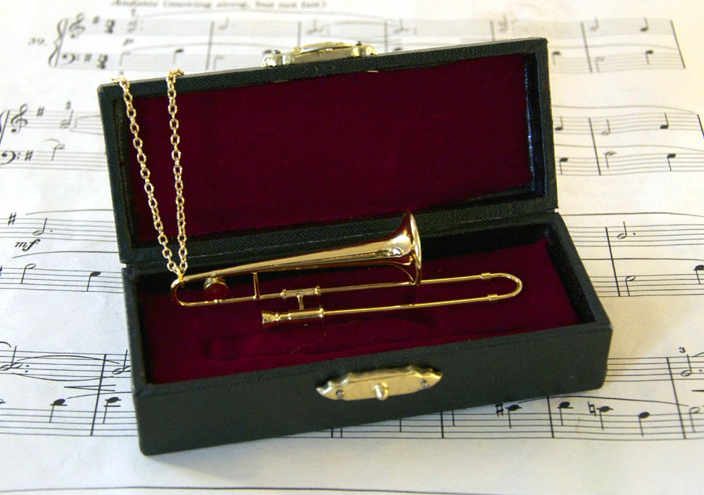 Trombone Necklace in Case - Music Gift - Trombone Jewellery