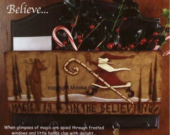 Magic Is In The Believing-Santa-Reindeer-DIY-Painting Pattern-Antiqued-Christmas Decoration