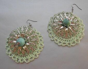 Green Crochet Feligree Earrings-Crochet Earrings-Green Earrings