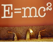Geekery Vinyl Decal - Vinyl Wall Decal Science Nerd Wall Words, E equals mc2, Albert Einstein