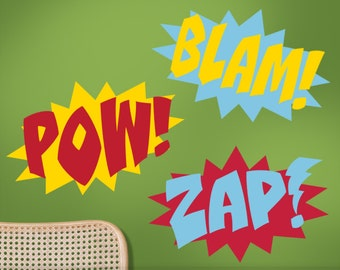 Three Color Superhero Wall Decals - Comic Book Sound Effects Word Bursts Pow Blam Zap, Super Hero Decal, Super Hero Wall Decor (0173a28v-r5)