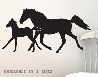Trotting Horses Wall Decal - Year of the Horse Silhouettes, Equestrian Art, Farm Animals, Horse Lover, Ranch Country Decor (0173a40v-r6)
