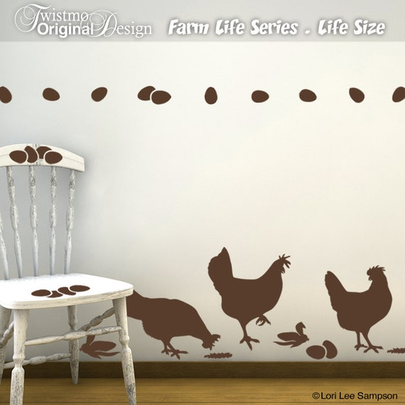 Chicken wall decals kitchen wall decals farm life series for Barnyard wall mural