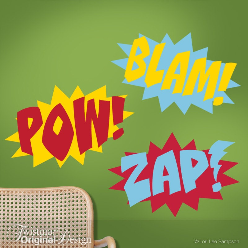 three color superhero wall decals comic book sound effects