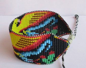Native American Inspired Aztec Men's Beaded Eagle and Snake Bracelet or Anklet