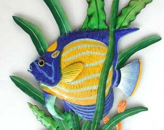 "Tropical Fish Metal Wall Hanging - Hand Painted Metal Art, Tropical Decor, Metal Wall Art, Painted Tropical Fish Wall Decor - 20"" - K173-L"
