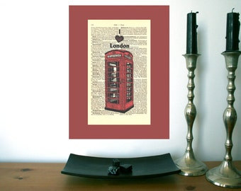 I heart London Telephone Box Art Print on Antique 1896 Dictionary Book Page