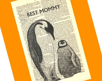 Best Mommy Penguins Personalized Art Print on Antique 1896 Dictionary Book Page