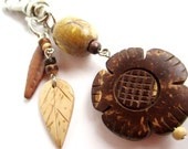 Beaded keychain- wooden flowers and leaves- brown, tan, cream
