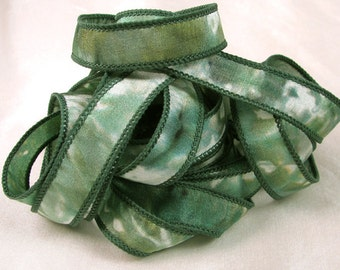 Hand Dyed Silk Ribbons - Hand Dyed Silk Ribbon Bracelet - Quintessence - Forest Mist