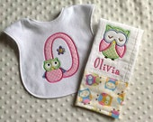 Baby Girl 2 Piece Gift Set, Personalized Pastel Owl, Bib and Burp Cloth