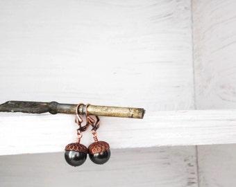 Acorn Earrings Woodland black - FALL EN TREASURES Ed3 - Swarovski crystal pearls - copper rustic wedding Etsy Uk