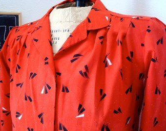 Red 80's Geometric Pattern Blouse