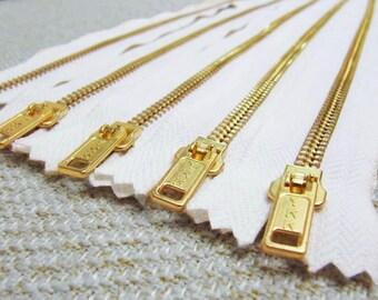 14inch - White Metal Zipper - Gold Teeth - 5pcs