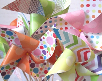 Rainbow Birthday Party Pinwheels Custom Made Set of 20 Pinwheels for a Birthday or a Baby Shower or a Bat Mitzvah or other party favors