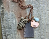 new Teacher necklace or anyone that inspires - mixed metal - inspire life with vintage blue drop and bronze owl