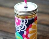 Bold Flower Mason Jar cup  24 oz large Tumbler w sleeve- travel mug - teachers gift - mothers day- candy swirl straw included