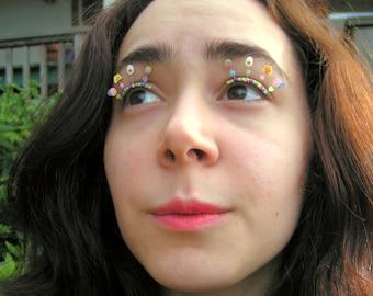 Easter Egg Eyelash Jewelry - false eyelashes with pastel eggs and chicks for spring