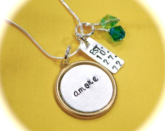 Framed Personalized Charms Brass - Sterling Silver Necklace Combination