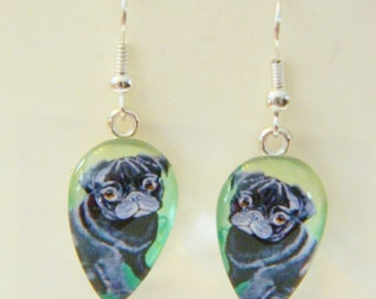 Beautiful, Black PUG EARRINGS/ Wearable art/ Original artwork