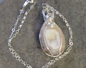 Geode Druzy Necklace - Pink and Cream - Silver Wire Wrapped