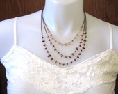 Mookaite Jasper Triple-Strand Copper Bib Necklace in Maroon, Lavender, and Cream