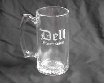 12 Custom Etched Groomsmen Beer Mugs