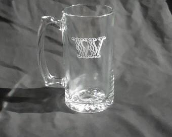 8 Custom Engraved Monogrammed Groomsmen Beer Mugs