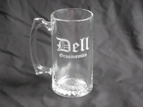 12 Custom Etched Groomsmen Beer Mugs