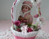 RESERVED for SUZANNE in Michigan - Vintage Style Victorian Valentine's Day Nut Cup Decoration