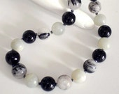 VERY TIF FANY - Ashira Semi-Precious Gemstone Bead Necklace Black and White, Rutilated Quartz, Black Onyx, Grey Moonstone