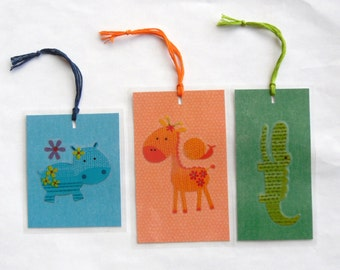 "Three (3) Handmade ""Hippo Alligator Zebra"" Kids Bookmarkers"
