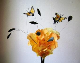 Yellow Rose Floatiing Butterflies Fascinator Headband