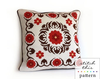 suzani modern needlepoint pattern - diy - contemporary - pdf - instant download