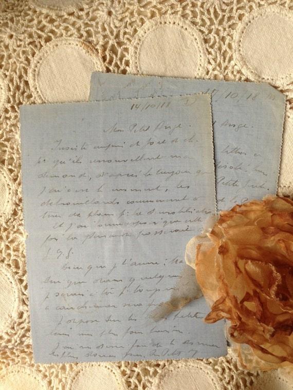 French Love Letters Handwritten Script Vintage Blue Original