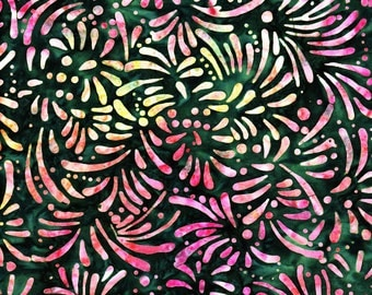Batik Cotton Fabric, 1/4 Yard, Petals, Dark Green, Pink, Batavian Batiks, Quilt, Quilting, Pillow, Wallhanging, Home Decor, Crafts, Gift