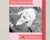Simple Banner Chevron Valentines Day Custom Double-sided Photo Card (Printable Digital File or Printed)