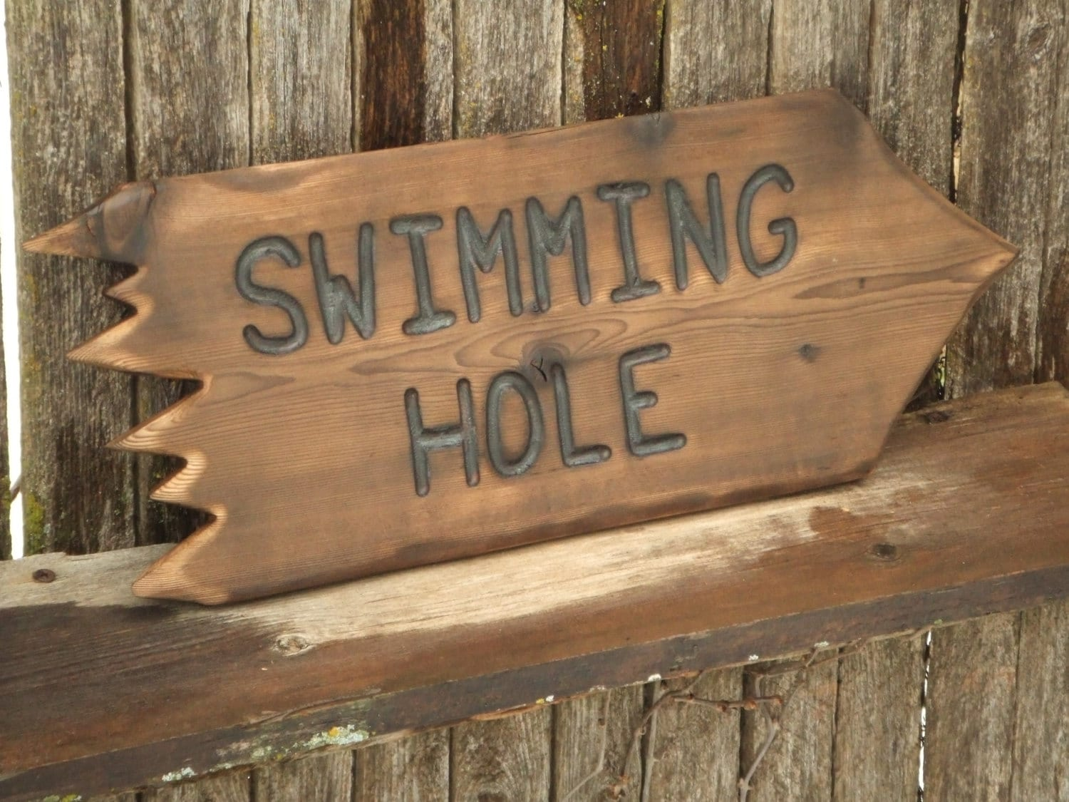 Wood pointing sign custom hand carved rustic un
