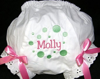 Pink & Lime Personalized Baby Girl  Bloomers, Diaper Cover, Panties