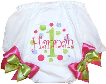 Personalized Birthday Baby Girl Diaper Cover Bloomers Birthday Dots Double Bows Design, Diaper Cover, Panties