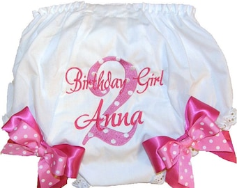 Personalized Birthday Baby Girl Diaper Cover Bloomers Birthday Hot Pink & Shocking Pink Double Bows Design
