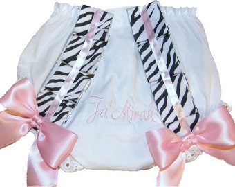 Personalized Baby Girl Diaper Cover, Bloomers Light Pink & Zebra Ribbon Free Shipping