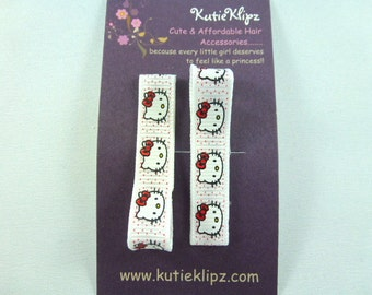 SALE NEW  - Everyday Red and White Polka Dotted Kitty Printed Hair Clips Set of 2 - Hair Accessory, Party Favor - D19