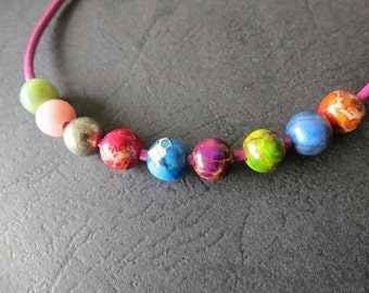 9 Str- 9 stones- 2mm Big Hole -8mm round beads-- 50pcs per Strand