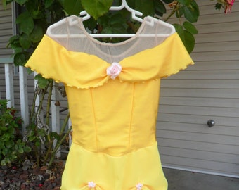 Ladies Disney Inspired Belle Figure Skating dress from Beauty and the Beast