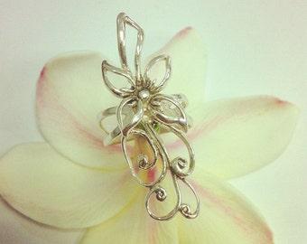 Elegant Sterling Silver Long Detailed Flower Ring