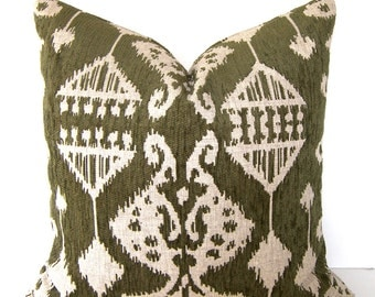 Both Sides - Decorative Pillow Cover - 18x18 or 20x20 inches - Ikat - Olive Green and Beige - Accent Pillow - Throw Pillow
